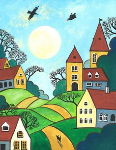 Abstract Folk Art Houses Tuxedo Cat Crow