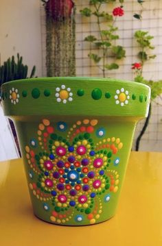 Decorative painting - All About Flower Pot Art, Flower Pot Design, Clay Flower Pots, Flower Pot Crafts, Dot Art Painting, Mandala Painting, Pottery Painting, Painting Clay Pots, Painting Flowers