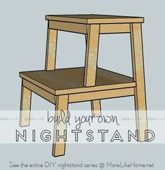 Build your own nightstand with 18 free plans! This plan is for a fun nightstand that looks like a stepstool. {MoreLikeHome.net}