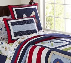 Jake Quilted Bedding #Pottery Barn Kids
