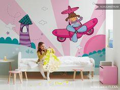 Papel de pared mural XuxuLanstrum modelo Aviadora. Gracias a Flexa por la foto del mobiliario!