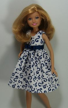 Stacie Doll Clothes  Blue and White Print  by OhSoChicDollClothes, $8.00