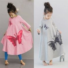 12.83$  Watch now - http://aliyi1.shopchina.info/go.php?t=32481466201 - Autumn New Casual Baby Girl Dresses Girls Dress Butterfly Print Baby Dress Long Sleeve Girl Dress 12.83$ #magazine