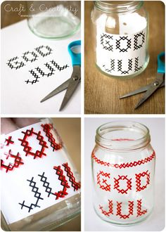 Cross stitch glass jars tutorial from Craft & Creativity.