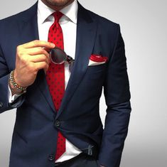 Red + Navy Polka Dot Tie and Navy Suit