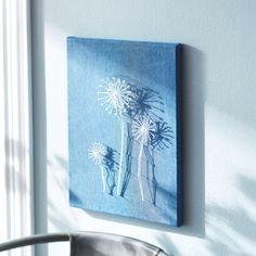 Dandelions String Art on Denim Canvas
