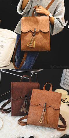 Retro Simple PU Tassels Women College Backpack for big sale! #tassel #backpack #Bag #women #college