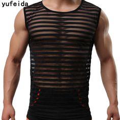 YUFEIDA Men Sexy Male See Through Gay Tank Tops Underwear Stripe  Transparent Mesh Shirts Undershirts Tank 90478a41f81