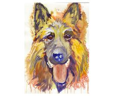 German Shepherd print, GSD dog gift,Alsatian Print,Dog Art, German shepherd owner gift, Gsd Parent, gsd painting, GSD… #dogs #pets #puppy