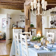 Country kitchen-diner with wood beams