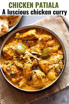 This chicken patiala recipe is a luscious, restaurant-style Indian chicken curry. The gravy is mildly spiced but quite rich with ground cashews and cream. Serve with tandoori roti or naan bread.