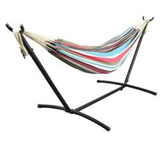 Outdoor Cotton Double Hammock With Stand And Carrying Case No Tools Assembly New