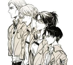 Attack on Titan || I can help but imagine them lining up as dog with different kind of breeds looking at their features here. Levi as Doberman Pinscher, Hanji as Shetland Sheepdog, Mike as Greyhound, Erwin as German Sheperd