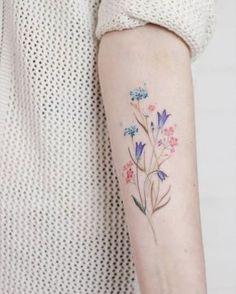 Wild flower bouquet on the left inner forearm. Pretty Tattoos, Love Tattoos, Beautiful Tattoos, Body Art Tattoos, Tattoos For Guys, Tattoos For Women, Tatoos, Colorful Flower Tattoo, Flower Tattoo Designs