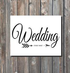 Printable Wedding This Way Sign Diy Direction Ceremony