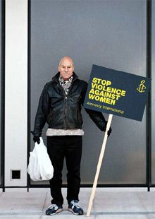 Patrick Stewart speaks out against domestic violence.