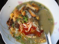 Mohinga is rice noodles in fish soup and considered by many to be the national dish of Burma.