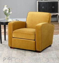 STUNNING GOLD ARM ACCENT CLUB CHAIR PLUSH VELVET TAPERED LEGS CONTEMPORARY  #Traditional