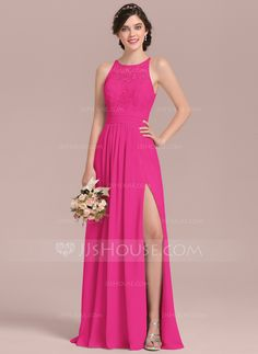 5f5ea26114a A-Line Princess Scoop Neck Floor-Length Chiffon Lace Bridesmaid Dress With  Ruffle Split Front