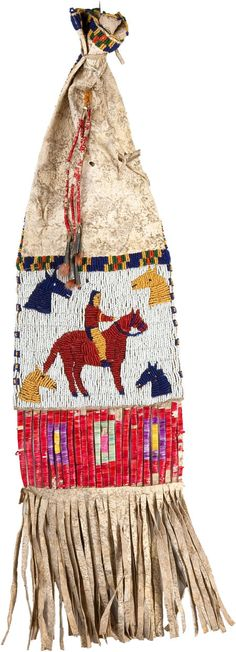 Sioux Beaded Hide Tobacco Bag, c 1910