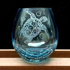 Crackle Wine Glass with Tribal Sea Turtle Design, Teal, Hand Etched