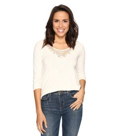 Imbracaminte Femei Lucky Brand Washed Applique Top Marshmallow N/A 👇 👚👚👚. Chambray Top, Lucky Brand Tops, Lace Applique, Lace Detail, Lace Trim, V Neck T Shirt, Casual, Clothes For Women, Tees