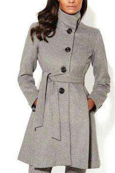 Grey High Neck Skinny Coat with Self-tie Waist