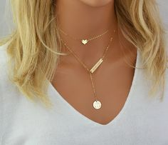 Gold Choker Necklace, Name Plate NecklacePersonalized Layered Necklace, Tiny Heart Necklace, Monogram Necklace Gold, Silver, Rose Gold