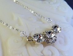New Swarovski Clear Chaton Crystal by HisJewelsCreations on Etsy, $48.00