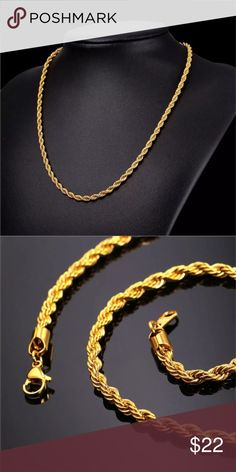 Gold Chain Men Necklace New gold plated rope chain Gold Color Plated Chain For Men Necklace Fashion Jewelry Trendy Stainless Steel Thick Twisted Singapore Necklace long Accessories Jewelry - Gold Necklace For Men, Mens Gold Jewelry, Men Necklace, Women Jewelry, Trendy Fashion Jewelry, Fashion Jewelry Necklaces, Fashion Necklace, Chain Jewelry, Men Fashion