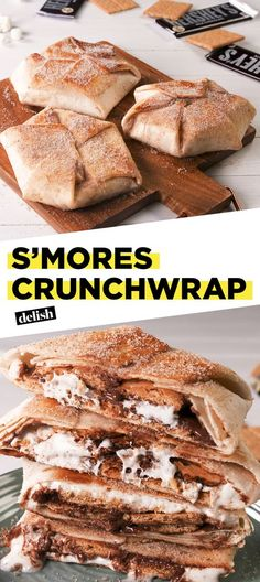 This S'mores Crunchwrap is like nothing you've EVER seen. Get the recipe at Delish.com. #recipe #easy #easyrecipe #smores #chocolate #dessert #dessertrecipe #tacobell #crunchwrap #copycat