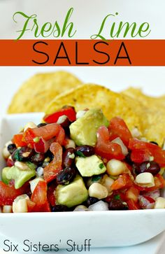 Fresh Lime Salsa from SixSistersStuff.com. The most delicious way to eat your vegetables! #sixsistersstuff #salsa #recipe