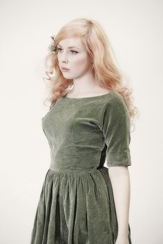 a lovely sage green velvet dress-- I have a notion that velvet will be a reoccurring theme in my autumn wardrobe