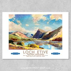 Railway Posters, Travel Posters, Glen Etive, Vintage Posters, Westerns, Poster Prints, Tours, Retro, Painting