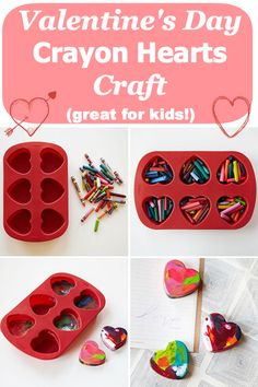 Valentine's Day craft: How to make DIY melted crayon hearts (a great craft for kids!)