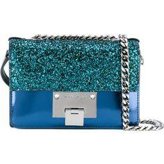 Jimmy Choo glittered mini Rebel bag ($835) ❤ liked on Polyvore featuring bags, handbags, shoulder bags, blue, jimmy choo purses, blue shoulder bag, peacocks handbags, mini shoulder bag and metallic handbags