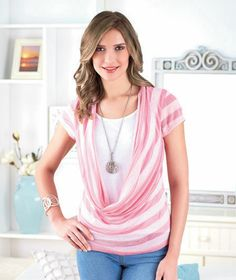 Women's Cowl-Neck Duet Tops. Fun and fashionable!
