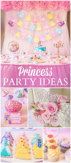 This gorgeous party celebrates all the Disney princesses! See more party ideas at CatchMyParty.com!