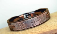 FREE SHIPPING Mens Personalized Leather BraceletPersonalized