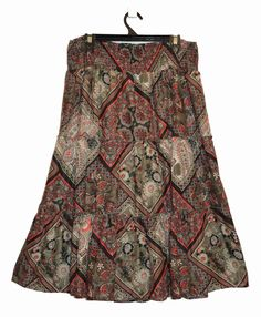 Free Postage (Size 18) Suzanne Grae Paisley Floral Skirt - Shirred Waist XL