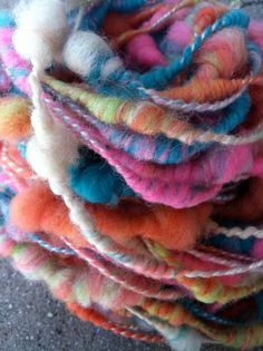 bubble yum hand dyed hand spun yarn with by HoosierWheelworks, $33.00