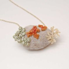 Botanical jewelry nature study lichen art lichen jewelry felt stone necklace ELIN unusual necklace nature lovers gift one of a kind (34.00 GBP) by elinart