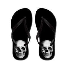Skull flip flops #goth #summer #style