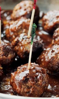 Pineapple Barbecue Sauce Glazed #Meatballs.