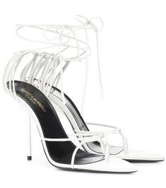 Saint Laurent Inez feather-trimmed leather sandals jgP8EzA