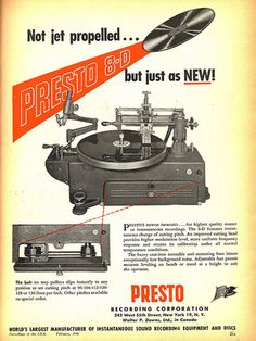 1946 Presto record cutting lathe ad in Reel2ReelTexas.com's vintage recording collection