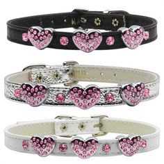 Pink 3 Heart Charm on 3/8 Dog Collar from   SimplyDogStuff.com. These Pink 3 Heart Charm Collars are faux leather and outfitted with three Heart Charm and Czech crystal accents. They feature solid brass hardware  with quality construction.