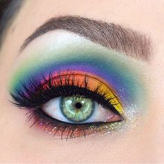 25/100 Rainbow Eyes using Viseart Editorial Brights, Suva Beauty, House of Lashes and Lit Cosmetics - 100 Days of Makeup