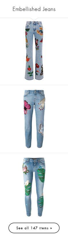 """Embellished Jeans"" by brassbracelets ❤ liked on Polyvore featuring jeans, pants, bottoms, denim, gucci, button-fly jeans, flare jeans, embellish jeans, mid-rise jeans and pantaloni"