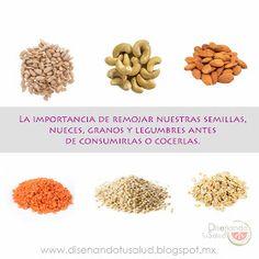 Diseñando tu Salud : La importancia de remojar nuestras semillas, nueces, granos y legumbres antes de consumirlas o cocerlas.